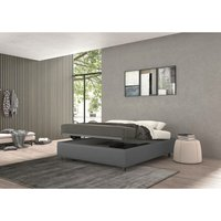 vivaldi single bed with container grey, eco-leather - TALAMO ITALIA