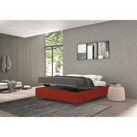 vivaldi single bed with container red, eco-leather - TALAMO ITALIA