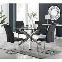 Vogue Large Round Chrome Metal Clear Glass Dining Table And