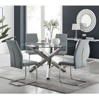Vogue Large Round Chrome/Metal Clear Glass Dining Table And