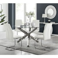 Vogue Large Round Chrome Metal Clear Glass Dining Table And 4 White Lorenzo Dining Chairs Set - FURNITUREBOX UK