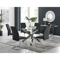 Vogue Large Round Chrome/Metal Clear Glass Dining Table And 6 Black Lorenzo Dining Chairs Set - FURNITUREBOX UK