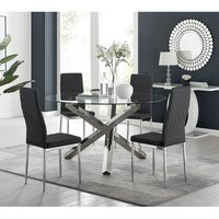 Vogue Large Round Chrome Metal Clear Glass Dining Table And 4 Black Milan Dining Chairs Set