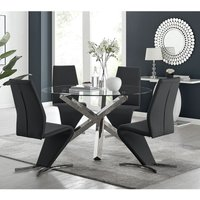 Vogue Large Round Chrome Metal Clear Glass Dining Table And 4 Black Willow Dining Chairs Set