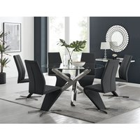 Vogue Large Round Chrome Metal Clear Glass Dining Table And 6 Black Willow Dining Chairs Set - FURNITUREBOX UK