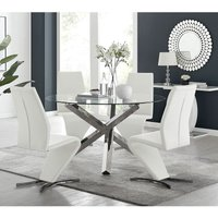 Vogue Large Round Chrome Metal Clear Glass Dining Table And 4 White Willow Dining Chairs Set