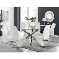 Vogue Large Round Chrome Metal Clear Glass Dining Table And 6 White Willow Dining Chairs Set