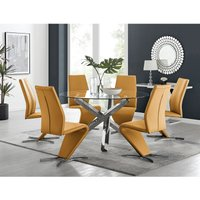 Vogue Large Round Chrome Metal Clear Glass Dining Table And 6 Mustard Yellow Willow Dining Chairs Set
