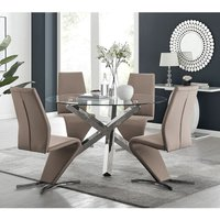 Vogue Large Round Chrome Metal Clear Glass Dining Table And 4 Cappuccino Grey Willow Dining Chairs Set - FURNITUREBOX UK