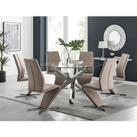 Vogue Large Round Chrome Metal Clear Glass Dining Table And 6 Cappuccino Grey Willow Dining Chairs Set