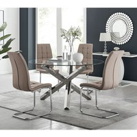 Vogue Large Round Chrome Metal Clear Glass Dining Table And 4 Cappuccino Grey Murano Dining Chairs Set