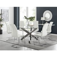 Vogue Large Round Chrome Metal Clear Glass Dining Table And 6 White Murano Dining Chairs Set