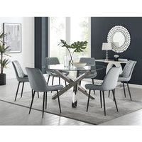 Vogue Round Dining Table and 6 Grey Pesaro Black Leg Chairs