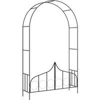 Voute de jardin avec portail Noir 138x40x238 cm Fer