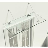 VSG Safety Glass Canopy Front Door 120x60 cm Stainless Steel - Transparent - Vidaxl