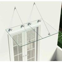 Zqyrlar - VSG Safety Glass Canopy Front Door 135x90 cm Stainless Steel - Transparent