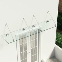 Zqyrlar - VSG Safety Glass Canopy Front Door 240x60 cm Stainless Steel - Transparent