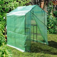 Walk-in Greenhouse 143 x 143 x 195 cm with Polyethylene Foil and 8 Shelves - WILTEC