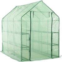 Walk-in Greenhouse with 12 Shelves Steel 143x214x196 cm - Green - ZQYRLAR