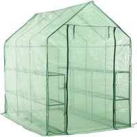 Walk-in Greenhouse with 12 Shelves Steel 143x214x196 cm - VIDAXL
