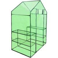 Walk-in Greenhouse with 4 Shelves - Green - ZQYRLAR