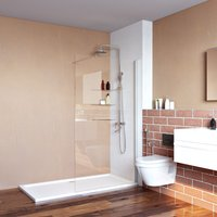 Walk in Shower Door, 1000x1850mm Wet Room Screen Glass 6mm Safety Panel with Support Bar