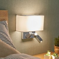 Lucande - Wall Light Virvewith USB Socket (modern) in White made of Textile (1 light source,) from wall lighting, wall lamp