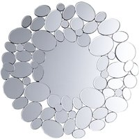 Modern Round Wall Mirror Glossy Reflecitve Silver Frame Living Room Hallway Limoges
