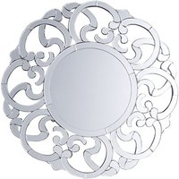 Modern Round Wall Mirror Silver Glam Frame Living Room Hallway