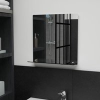 Wall Mirror with Shelf 40x40 cm Tempered Glass