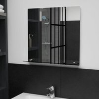 Asupermall - Wall Mirror with Shelf 50x50 cm Tempered Glass