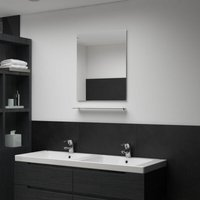 Wall Mirror with Shelf 50x60 cm Tempered Glass