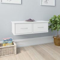 Zqyrlar - Wall-mounted Drawer Shelf High Gloss White 60x26x18.5 cm Chipboard - White