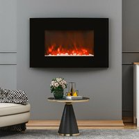 Wall Mounted LED Electric Fireplace Glass Front Heater Fire Remote Control