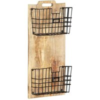Wall-mounted Magazine Rack 33x10x67 cm Solid Rough Mango Wood - YOUTHUP