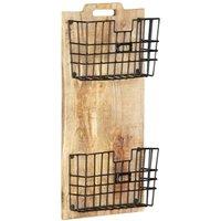 Wall-mounted Magazine Rack 33x10x67 cm Solid Rough Mango Wood - Brown