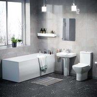 Warton Rimless Close Coupled Toilet, Full Pedestal Basin and Round Bath Tub Suite White