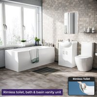 Neshome - Warton 1700mm Round Bath, 550mm Vanity Unit and Curved Toilet Suite White