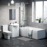 Neshome - Warton P-Shaped Left Hand Side Bath Set, Front Panel, Bath Screen, Rimless Open Back CC Toilet, 550mm Floor Standing Vanity Unit White,