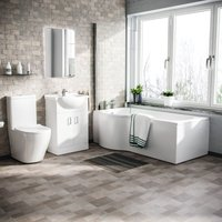 Neshome - Warton P-Shaped Left Handed Bath, 550mm Floor Standing Vanity Unit and Curved Toilet Suite