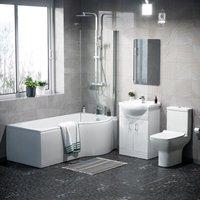 Neshome - Warton P-Shaped Right Hand Side Bath Set, Front Panel, Bath Screen, Rimless Open Back CC Toilet, 550mm Floor Standing Vanity Unit White,