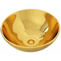 Wash Basin 32.5x14 cm Ceramic Gold - VIDAXL