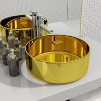 Zqyrlar - Wash Basin 40x15 cm Ceramic Gold - Gold