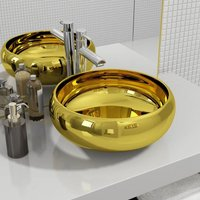 Wash Basin 40x15 cm Ceramic Gold - Gold - Vidaxl