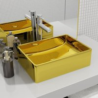 Wash Basin 41x30x12 cm Ceramic Gold