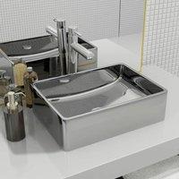 Zqyrlar - Wash Basin 41x30x12 cm Ceramic Silver - Silver