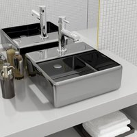 Wash Basin with Faucet Hole 38x30x11.5 cm Ceramic Silver - VIDAXL