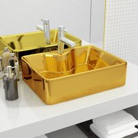 Asupermall - Wash Basin with Faucet Hole 48x37x13.5 cm Ceramic Gold