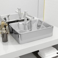 Zqyrlar - Wash Basin with Faucet Hole 48x37x13.5 cm Ceramic Silver - Silver
