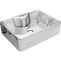 vidaXL Wash Basin with Faucet Hole 48x37x13.5 cm Ceramic Silver